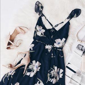 Lulu's All Mine Floral High-Low Wrap Dress